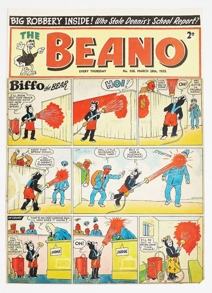Beano/Biffo the Bear original front cover artwork (1953), from The Beano 558 March 28 1953, drawn and signed by Dudley Watkins. Biffo paints the fence, and everything else, red! Poster colour and ink on cartridge paper. 20 x 14 ins. The 'Beano' header is a laser colour copy.