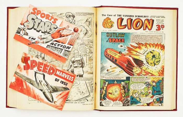 Lion (1952) 1-45 In bound volume. With free gifts for Nos 1 and 2. Starring Outlaw of Space/Captain Condor by Frank S Pepper, The Jungle Robot (later Robot Archie) by E George Cowan and The Lone Commandos by Edward R Home-Gall