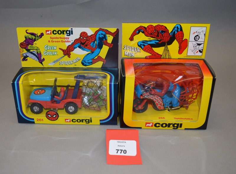 Corgi Spider-Man related diecast models (#261 Spiderbuggy & Green Goblin and #266 Spiderbike)