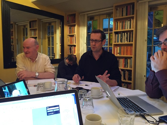 Andrew Mark Sewell chairs the first writers meeting to discuss the Dan Dare Audio Adventures project in London in November 2015