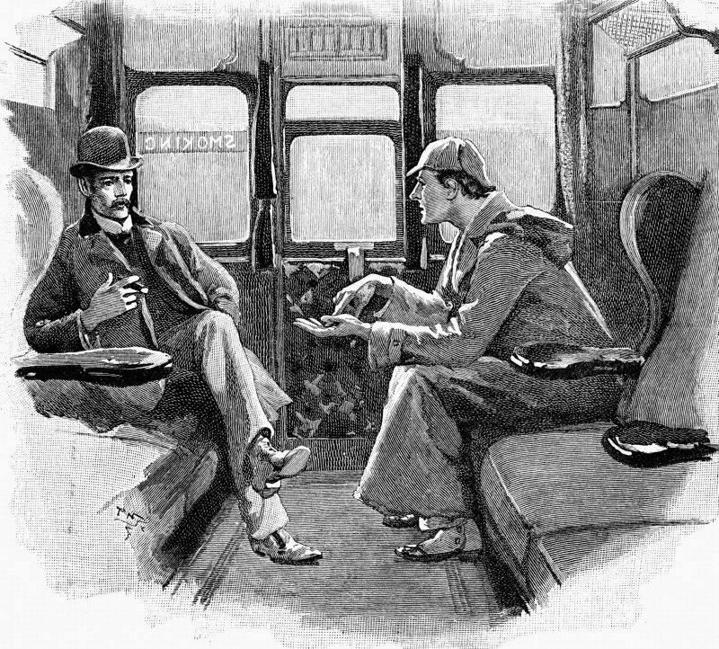 Doctor John Watson and Sherlock Holmes head off to a new adventure. Illustration from The Strand Magazine. Illustration by Sidney Paget