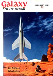 """Chesley Bonestell's first cover for Galaxy Science Fiction (Feb 1951), """"The Tying Down of a Spaceship on Mars in Desert Sandstorm"""""""