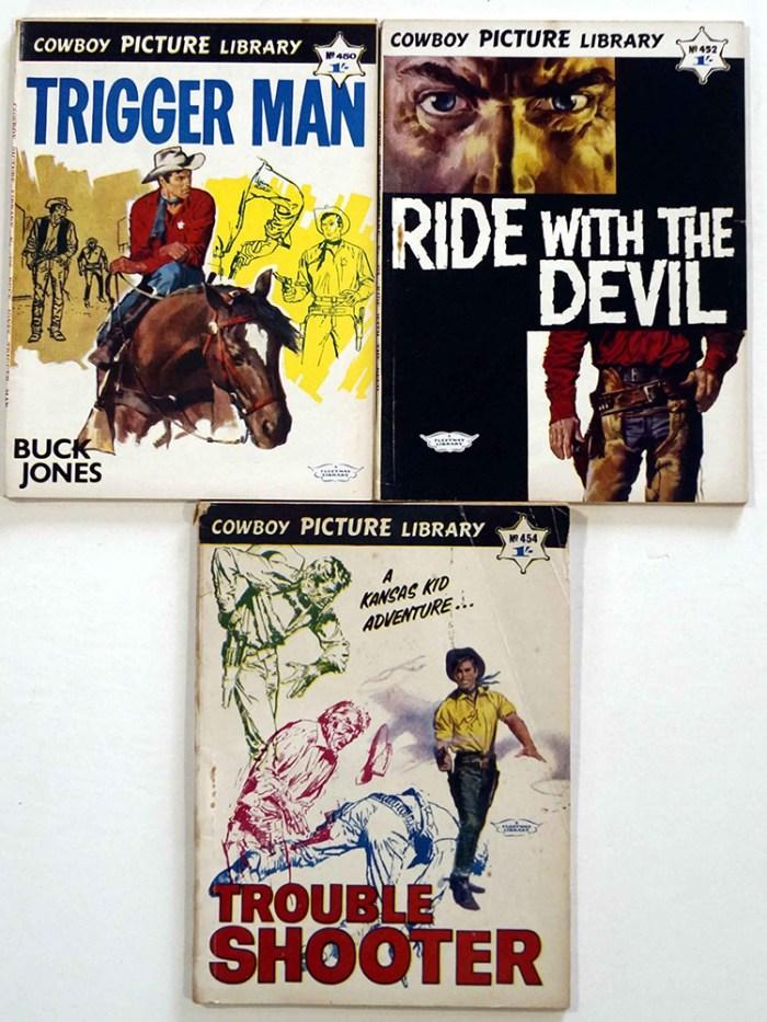 Cowboy Picture Library 450, 452, 454, featuring covers by Jordi Penalva, interiors by Alberto Breccia and Jose Bielsa