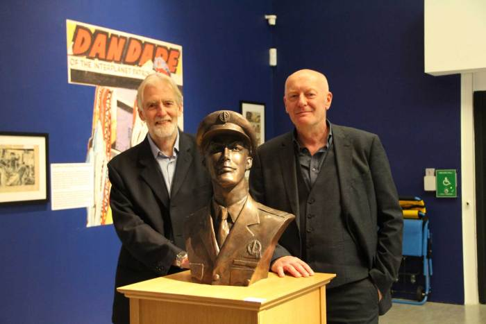 "Peter Hampson and Stephen Whittle at the launch of ""Frank Hampson – The Man Who Drew Dan Dare"" at the Atkinson, Southport. Image courtesy The Atkinson"