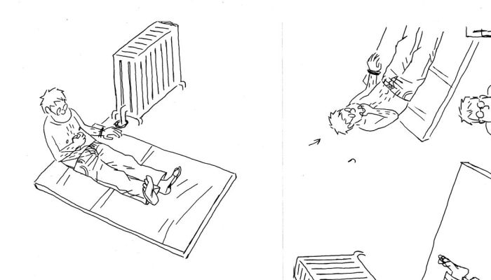 """Roughs for Guy Delisle's """"hostage"""", published in 2017"""