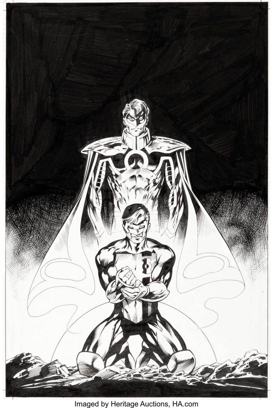 Alan Davis and Mark Farmer Green Lantern: Emerald Twilight/New Dawn Cover Original Art (DC, 2003). It's the dawning of a new world, in this symbolic cover, as Kyle Rayner is bestowed the last power ring and becomes the new Green Lantern, and with Hal Jordan becoming the new Spectre who would seek redemption for his sins as Parallax.