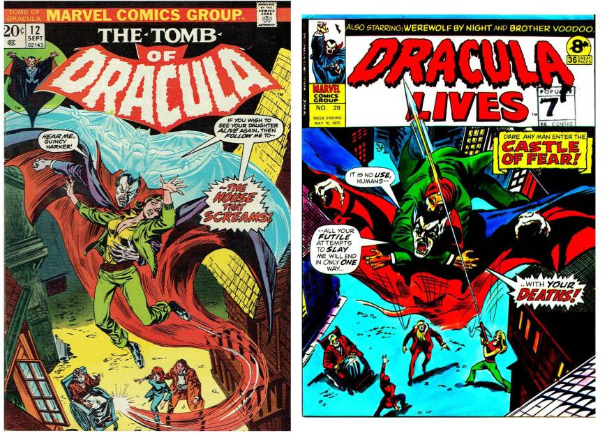 The cover of US Marvel title Tomb of Dracula #12, published in September 1973, drawn by Frank Brunner with inks by Tom Palmer; and left Marvel UK's Dracula Lives weekly (Issue 29), cover artists unknown.