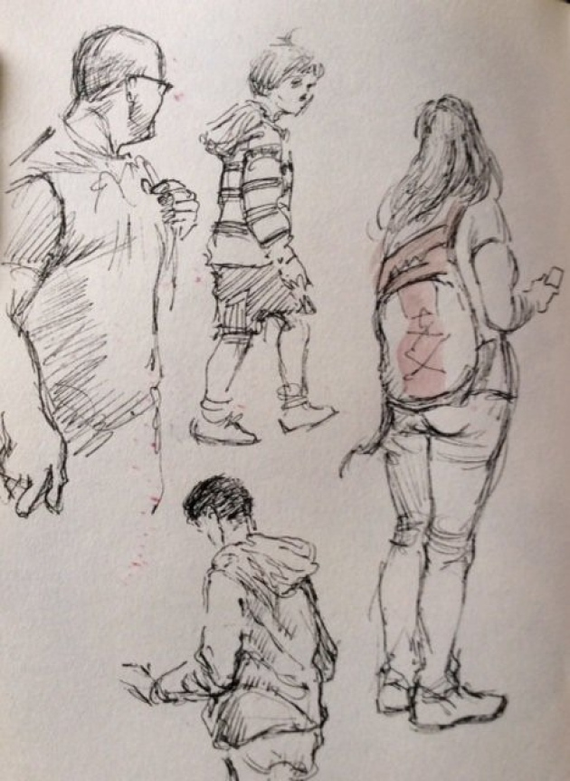 "Recent sketches by John Williams reflecting his interest in the human form, work he describes as much more diverse and experimental"" than his art for Real Ghostbusters as John Marshall © John Williams"