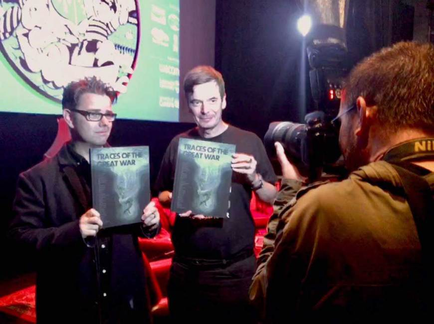 Artist Sean Phillips and author Ian Rankin at the launch of the stunning Traces of the Great War anthology. Photo: LICAF