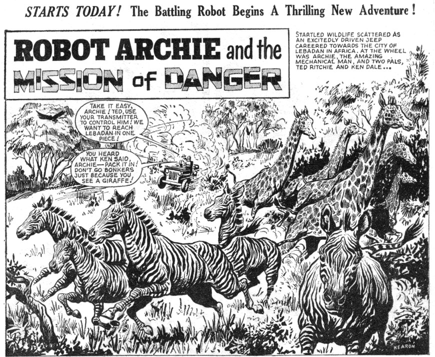 "A panel from ""Robot Archie"" in Lion. If you look closely, in the bottom right hand corner artist Ted Kearon has managed to sneak his name in! This is from the issue cover dated 15th July 1967. With thanks to Bambos Georgiou"