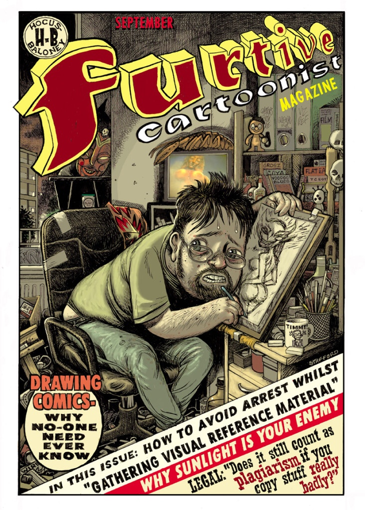 Furtive Cartoonist Magazine cover by Mark Stafford