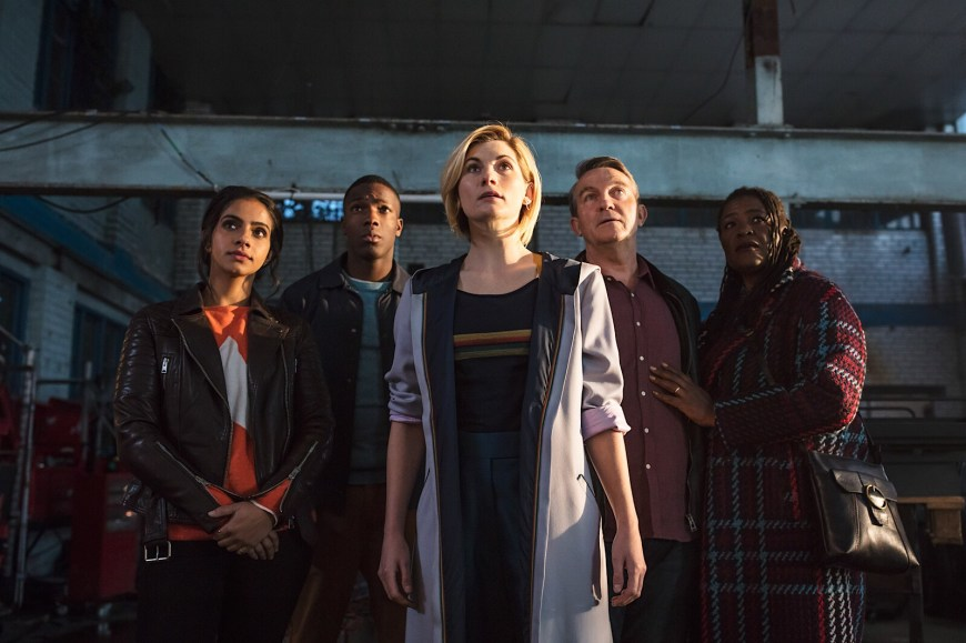 Yaz (Mandip Gill), Ryan (Tosin Cole), The Doctor (Jodie Whittaker), Graham (Bradley Walsh), Grace (Sharon D Clarke) in Doctor Who: The Woman Who Fell To Earth © BBC / BBC Studios - Photographer: Sophie Mutevelian