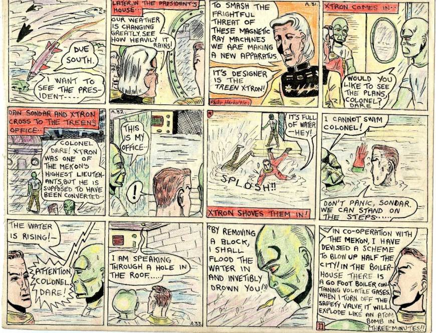 """This page retelling """"Ice Men of Venus"""" sees Dan and Sondar leaving Kalon's office with a Treen called Xtron, to go to his office to see some plans he has designed for a device to overcome the magnetic rays the Mekon is using at the pole, wrecking spaceships and causing adverse weather on Venus. His office is flooded and he pushes them in. Sondar cannot swim and panics. Xtron tells them he is working for the Mekon, and is going to drown them. He has also sabotaged a huge boiler to explode and destroy the city."""