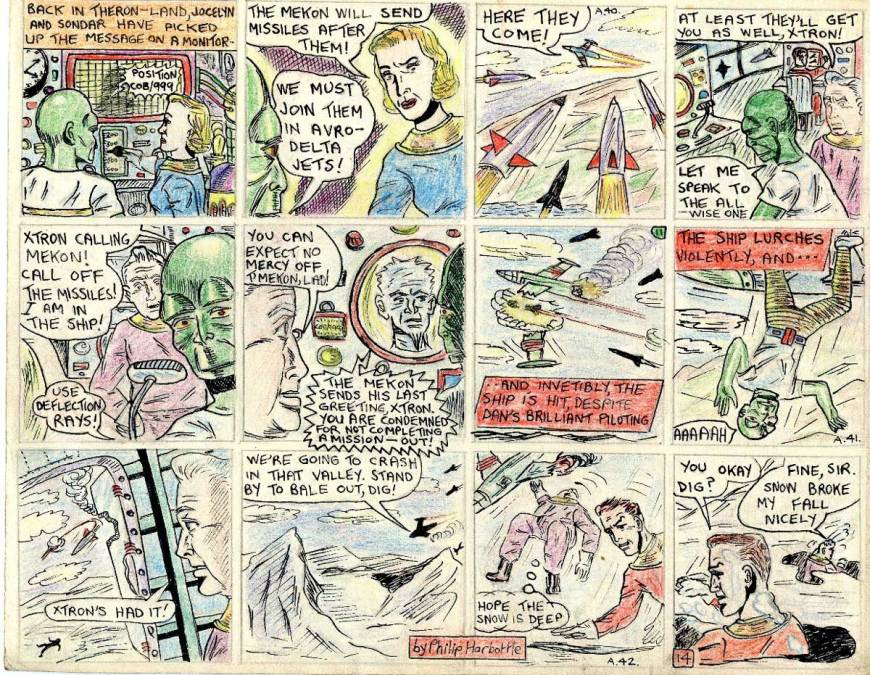 """In this final page of this 1955 comic strip adaptation by Philip Harbottle of """"Ice Men from Venus"""" depicting some of the action from the second episode, Sondar and Jocelyn overhear the radio message, and realise the Mekon will send missiles to shoot them down. They decide to fly to their aid, using conventional jet aircraft. Dan's machine is attacked by the Mekon's missiles and he takes evasive action as best he can. Xtron is confident the Mekon will spare his life. He is allowed to get back in contact , but Digby warns him he can expect no mercy and is expendable. Sure enough, Xtron is told he will be eliminated, along with Dan and Digby. Their ship is hit and as it lurches Xtron is flung out of the door and falls to his death. Dan brings the ship down to crash in the snow at the pole and he and Digby manage to bale out into the snow..."""