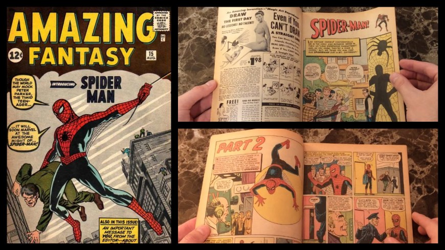 Spider-Man's first appearance, in Amazing Fantasy #15. Check out how the comic looked here on YouTube