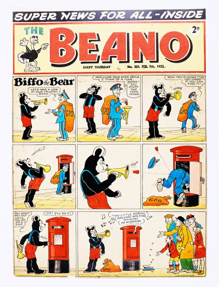 Beano/Biffo The Bear original front cover artwork (1953) from The Beano No 551 Feb 7th 1953. Drawn and signed by Dudley Watkins. The Postman stuffs a cork in Biffo's trumpet but ends up posted in his own letterbox! This art is poster colour and ink on cartridge paper. There are some small sealed tears to lower margin with a small piece missing. 20 x 14 ins. 'The Beano' header is a laser colour copy