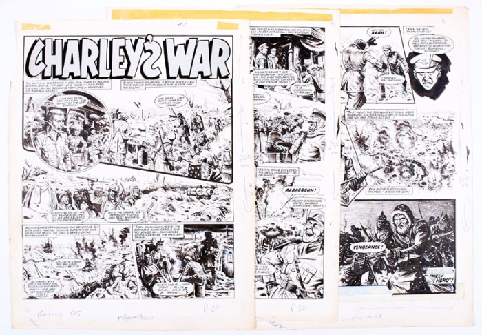 Charley's War three original artworks by Joe Colquhoun from Battle 615 (1984). The Battle of the Somme, July 1916. Charley and his mates have been taken prisoner and one of them reveals the terrible secret of the previous Christmas in flashback where the captain's treachery resulted in the Germans' deathly revenge. Three artworks, Indian ink on cartridge paper. 17 x 15 ins each