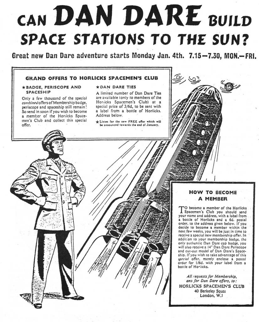 """An advertisement for the 1954 The Adventures of Dan Dare radio serial, """"Attack on the Space Stations"""""""