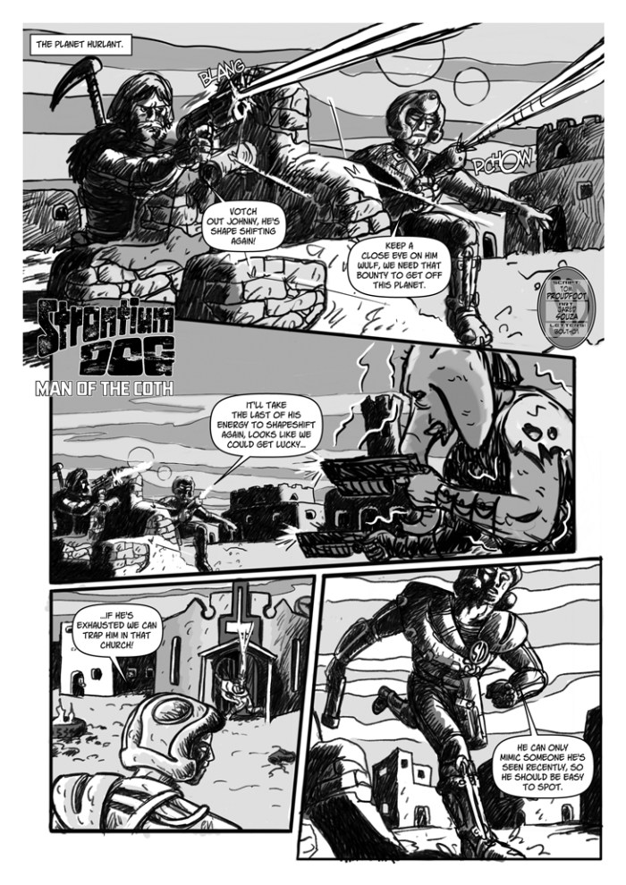 """Strontium Dog - """"Man of the Coth"""" by writer Tom Proudfoot and artist Jared Souza"""