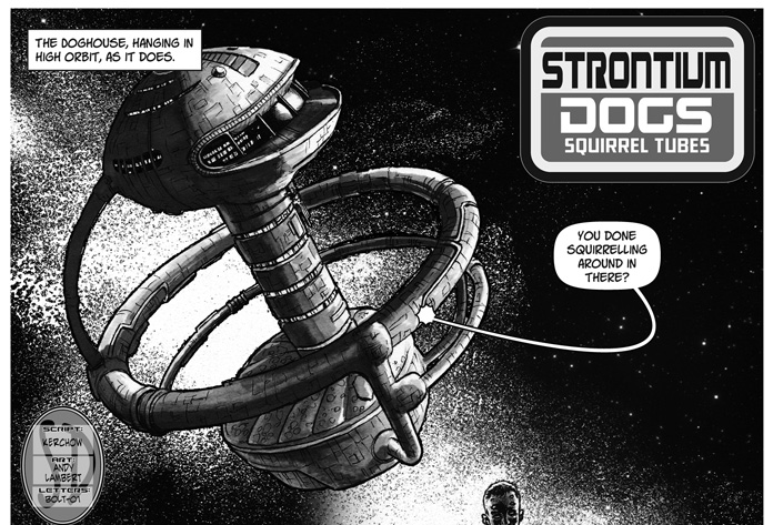 "Strontium Dogs - ""Squirrel Tubes"" by writer Kerchow and artist Andy Lambert"