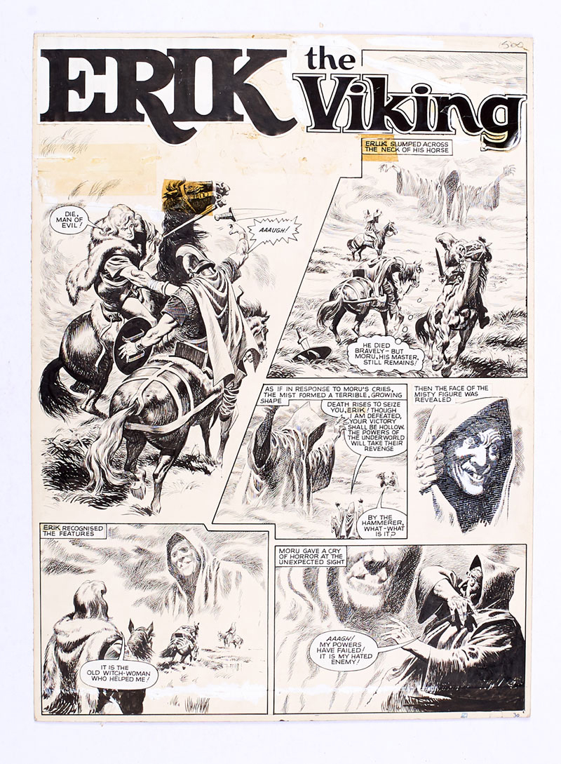 Erik The Viking original artwork (early 1960s) by Don Lawrence for Lion comic. Re-titled (from Karl the Viking) for later publication in Smash comic. From the Bob Monkhouse Archive. Indian ink on board. 21 x 16 ins