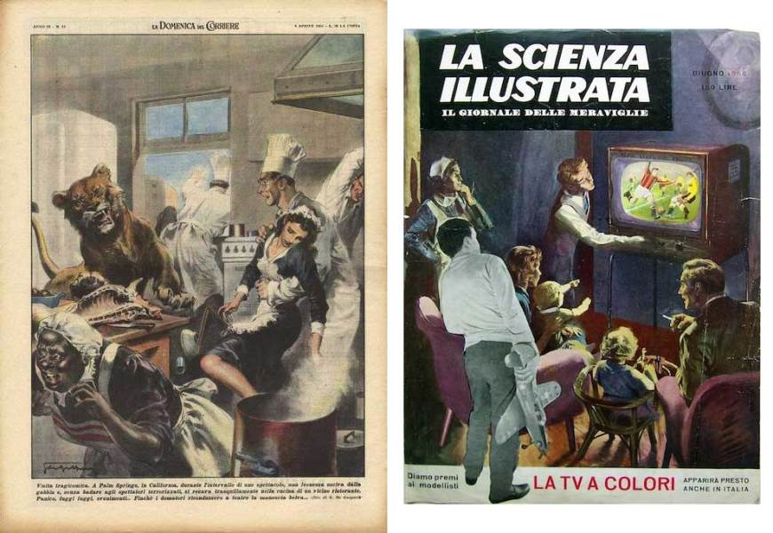 """Work for the Sunday paper,La Domenica del Corriere and La Scienza Illustrata by Giorgio De Gaspari. For La Domenica del Corriere, Gaspati illustrates """"a tragicomic visit"""" when a lioness escaped from her cage during the interval of a show Palm Springs, and ignoring the audience went into the kitchen of a nearby restaurant causing panic, fainting and a stampede until the tamers managed to bring the docile beast back to the theatre. The cover for La Scienza Illustrata, published in June 1956, celebrates the impending arrival of colour television in Italy."""