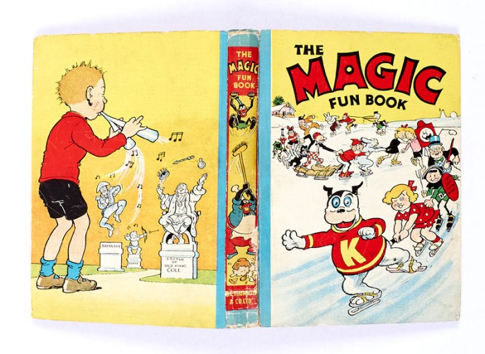 Magic Fun Book 1 (1941). On the cover, Koko leads his Magic FunSkaters. The Peter Piper back cover illustration is by Dudley Watkins.