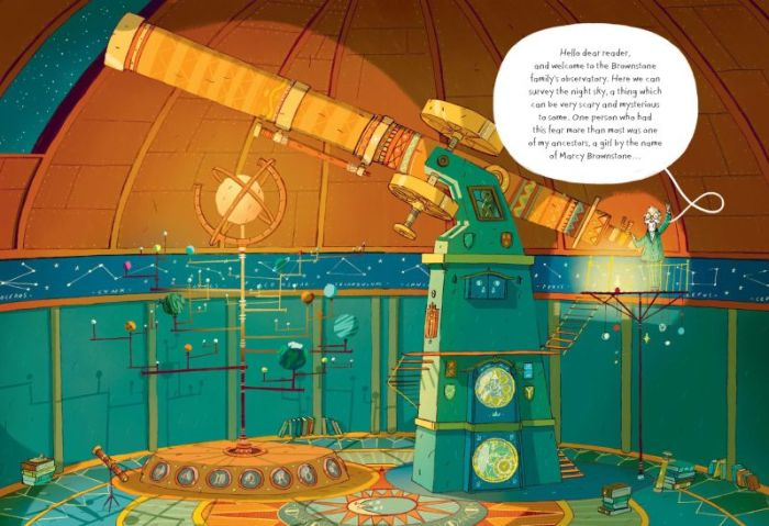 A beautiful double page spread from Marcy and the Riddle of the Sphinx by Joe Todd-Stanton, published Flying Eye Books