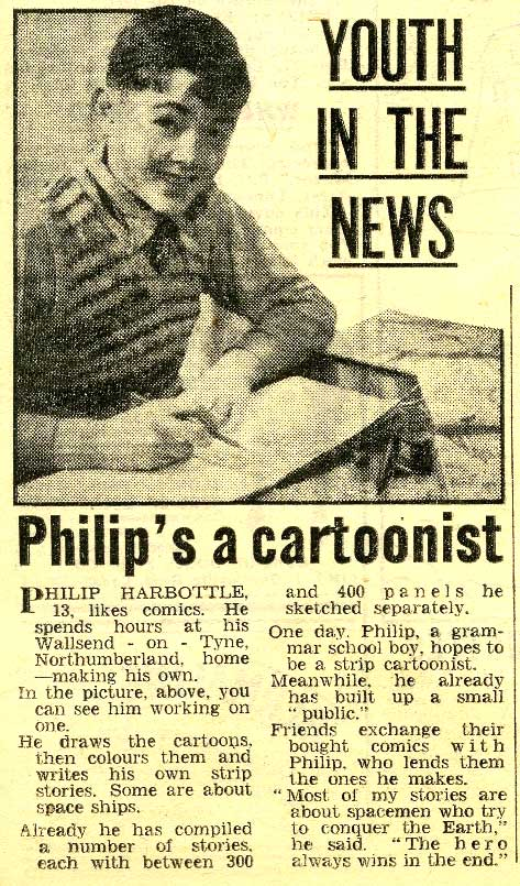 An article about budding comics creator Philip Harbottle, published in the Junior Mirror on 22nd June 1955