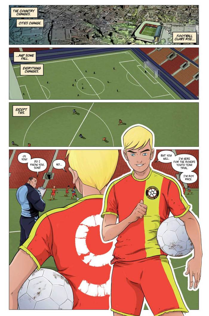 A page from Roy of the Rovers - Kick Off by Rob Williams and Ben Willsher © Rebellion Publishing Ltd.