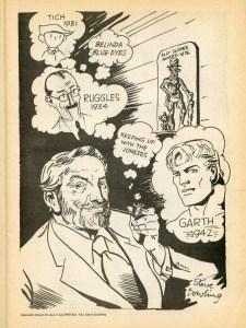 Steve Dowling Self Portrait, from Ally Sloper # 1, 1976. Steve misremembered Garth's origin as 1942 instead of 1943!