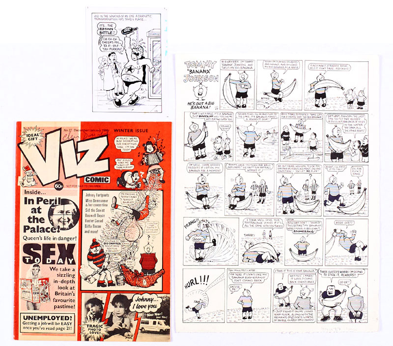 Viz original artwork (1987) Tommy 'Banana' Johnson (he's got a big banana!) 15 x 11 ins. With Viz 27 from which it comes. Both initialled/signed by Chris Donald. With Brown Bottle postcard artwork also initialled 'CD'
