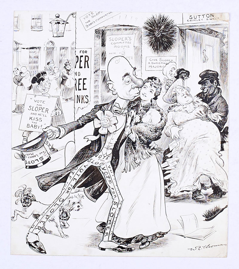 Ally Sloper 'Vote For Sloper' original artwork (1900) drawn and signed by W.F. Thomas Oct 20 1900. From the Bob Monkhouse Archive