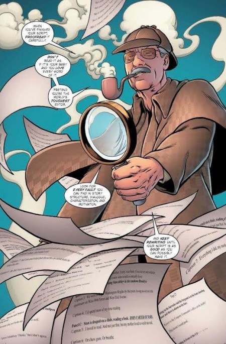 Writing advice from Stan, a page from the Stan Lee graphic biography Amazing, Fantastic, Incredible by Peter David, art by Colleen Doran