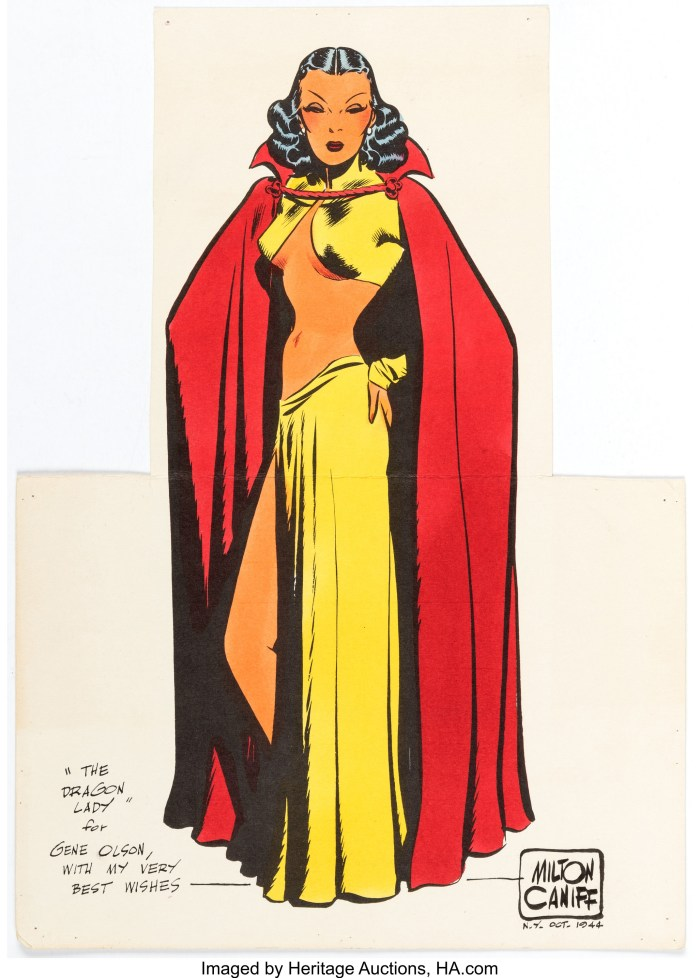 A 1944 Dragon Lady Signed Colour Print by Milton Caniff