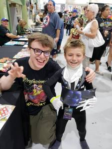 Oliver J Soto as Slenderman, one of the  voice actors from the Five Nights at Freddy's game, Kellen Goff at the 2018 Palm Springs Comic Con