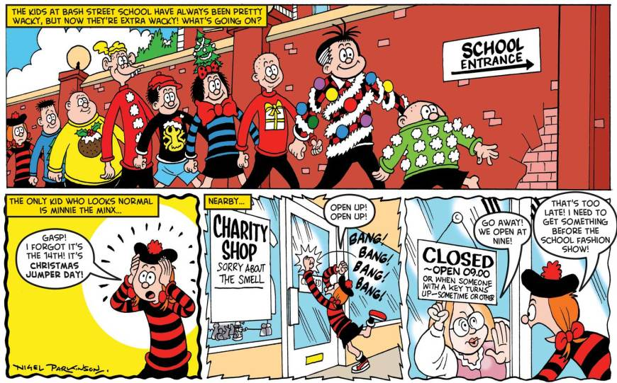 "The ""Save the Children Christmas Jumper Day"" strip for The Beano on sale Wednesday 5th December 2018. Script by Nigel Auchterlounie, art by Nigel Parkinson"