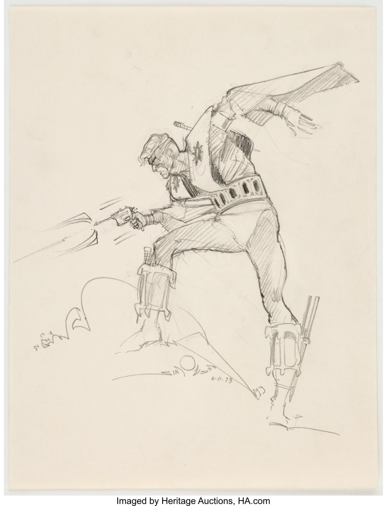 An original Manhunter Sketch Illustration by Walt Simonson (1973)
