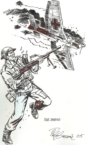 """""""The Sarge"""" by Phil Gascoine, drawn for the Eagle Flies Again publication of this interview"""