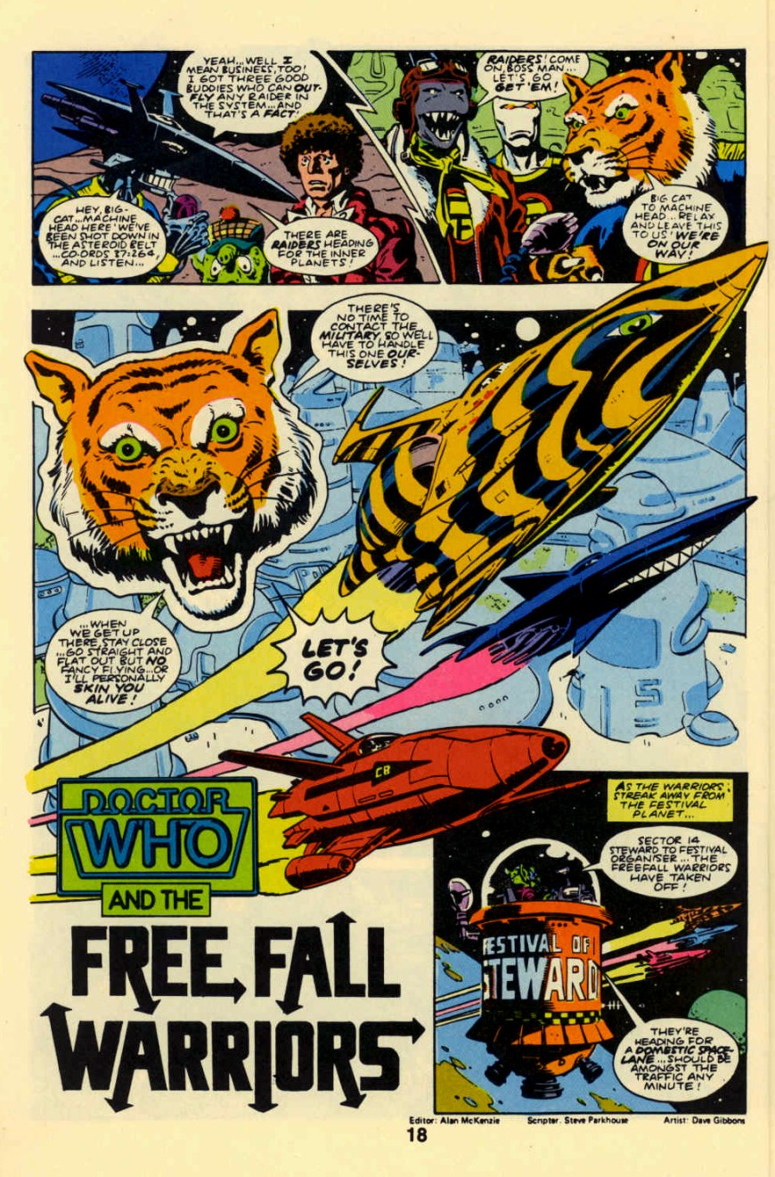 The Freefall Warriors appearance in colour in Marvel Comics US Doctor Who Comic #12, in 1984