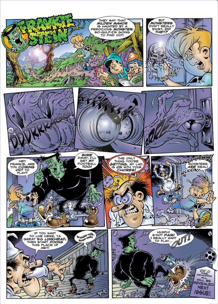 TOXIC initiated art on a revival of Frankie Stein, drawn by Jon Rushby, a few years back but the project foundered over the character's ownership at the time. Here's one of Jon's strips