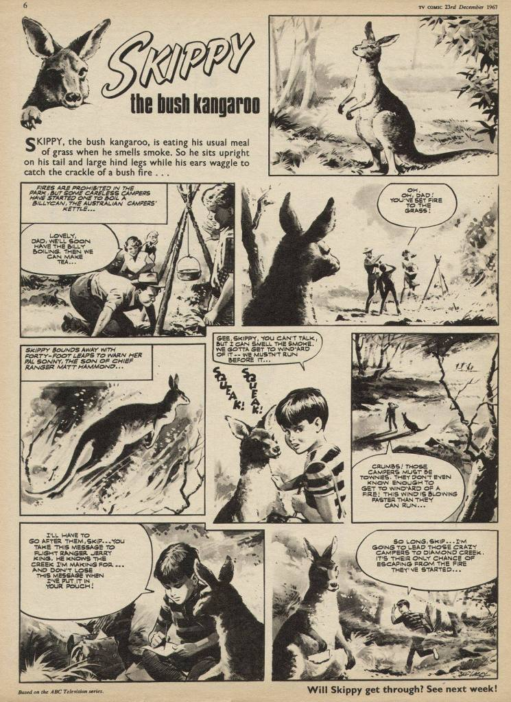 """""""Skippy the Bush Kangaroo"""", drawn by Bill Lacey, for TV Comic 836, cover dated 23rd December 1967"""