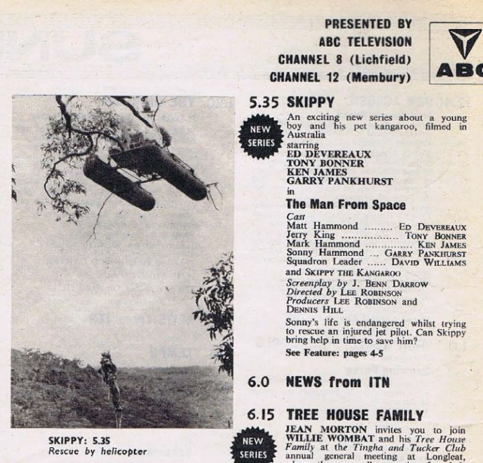 "Listing for the first episode of ""Skippy the Bush Kangaroo"" in the UK on ABC Midlands, Sunday 8th October 1967, from TV World magazine"