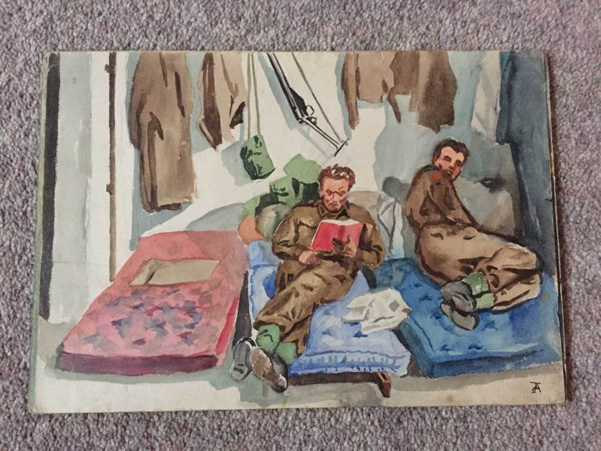 World War Two watercolour by John Armstrong - possibly featuring John as the book reader