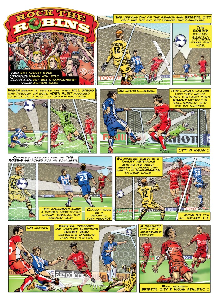 A strip for a Bristol City Football Club matchday programme by Stephen Baskerville, one of many he created for different clubs. There's more of his work on his web site - baskervillecomics.carbonmade.com
