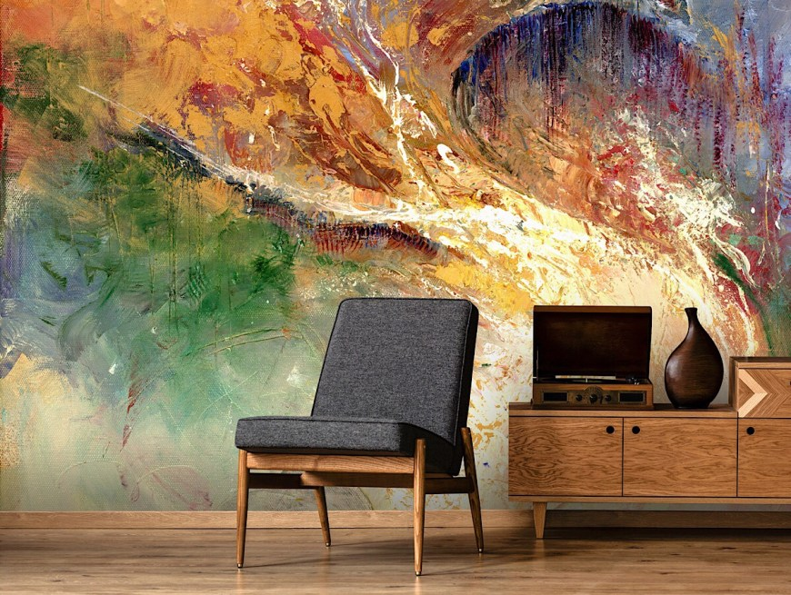 Expressionist mural wallpaper designed by Anne Farrall Doyle. Image courtesy Wallsauce.com
