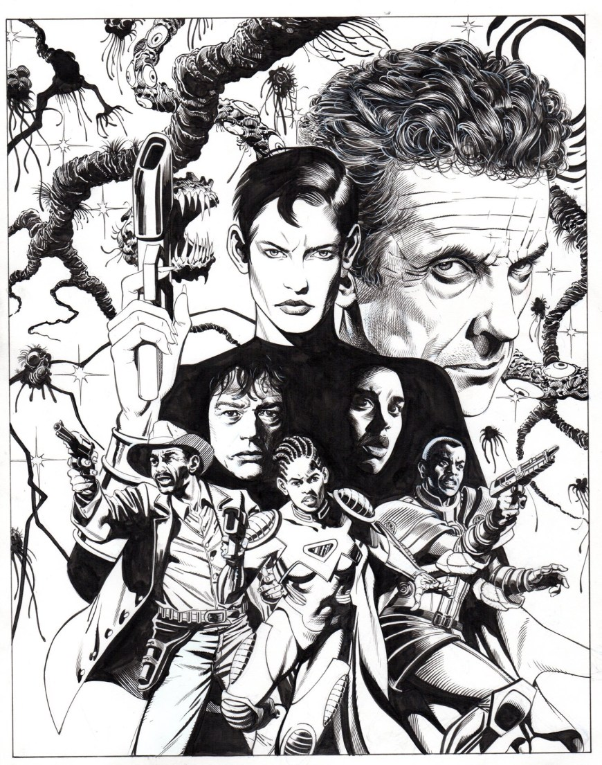 David Roach's line art for the cover of Doctor Who - The Clockwise War
