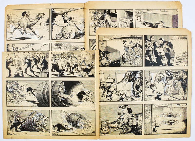 Barney's Bear original four page artwork by George Ramsbottom for The Dandy, published in the 1950s. Barney's Bear wreaks havoc at the circus (Indian ink on card. 18 x 15 ins (4 items)