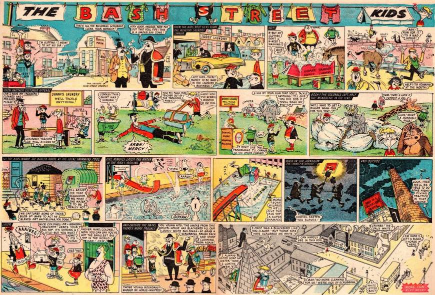 """The first two-page episode of """"The Bash Street Kids"""" in full colour, from the Beano No. 1046 © DC Thomson (with thanks to Irmantas Povilaika)"""