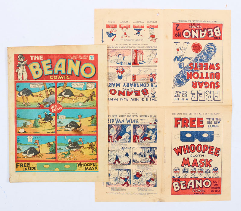 Beano Comic No 1 (1938) - offered with a Beano No 1 and No 2 Flyer eight page Mini Comic. The debut issue marks the first appearances of characters Big Eggo, Lord Snooty, Little Peanut and Tin-Can Tommy
